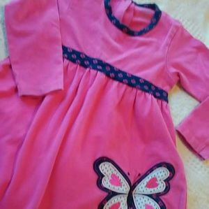 3 T long sleeved cotton dress, Pink blue butterfly